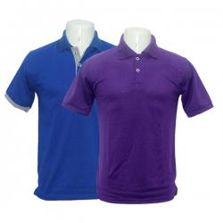Pack Of 2 Blue and Purple Polo Men's Cotton T-Shirt - (BASTRA-013)