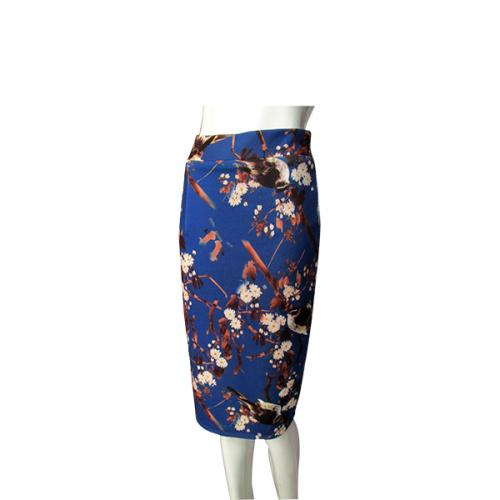 Blue Printed Pencil Skirt For Women - (NP-WS-018)