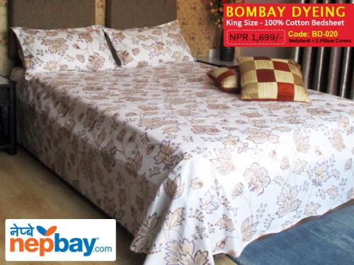 Bombay Dyeing King Size 100% Cotton Bedsheet with 2 Pillow Covers - (BD-020)