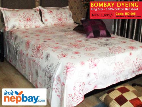 Bombay Dyeing King Size 100% Cotton Bedsheet with 2 Pillow Covers - (BD-005)