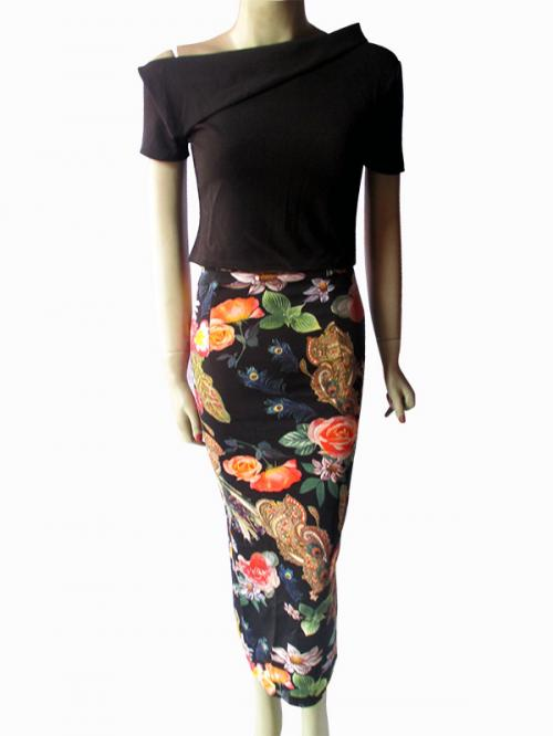 Ladies' Black Top & Long Skirt Set - (NP-WS-035)