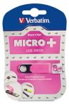 Verbatim 8GB Micro USB Flash Drive Plus - Pink