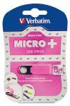 Verbatim 8GB Micro USB Flash Drive Plus - Pink