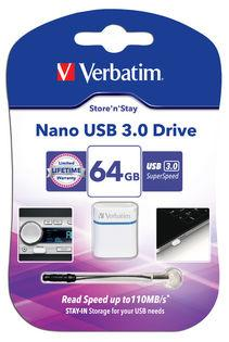 Verbatim 64 GB Store 'n' Stay Nano USB 3.0 Flash Drive - (VTM-64781)