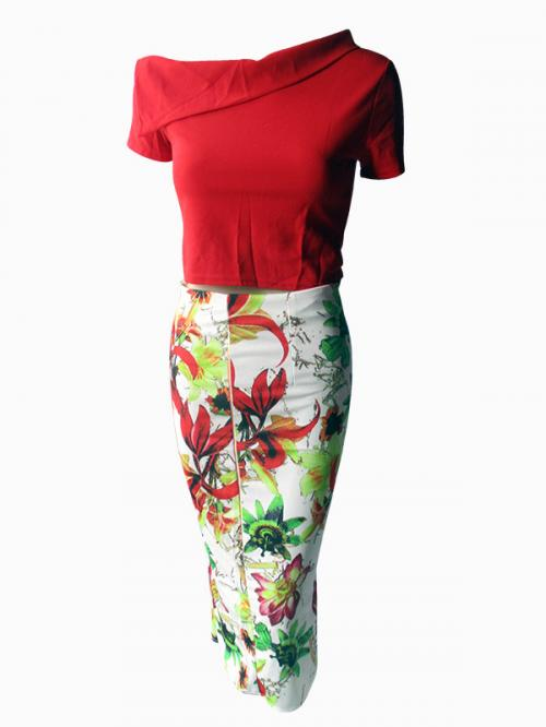 Red Top & Long Skirt Set - (NP-WS-034)
