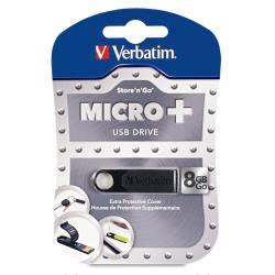 Verbatim 8GB Micro USB Flash Drive Plus - Black