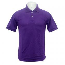 Polo Collar 100% Cotton Purple T-Shirt - (BASTRA-004)