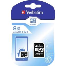 Verbatim Micro SDHC card 8 GB Verbatim Class 4 incl. SD adapter - (VTM-44004)