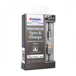 Verbatim 120cm Metallic Step-up Lightning Cable - Black - (VTM-64988)