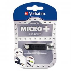 Verbatim 16GB Micro USB Flash Drive Plus - Black