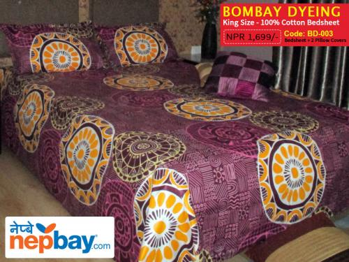 Bombay Dyeing King Size 100% Cotton Bedsheet with 2 Pillow Covers - (BD-003)