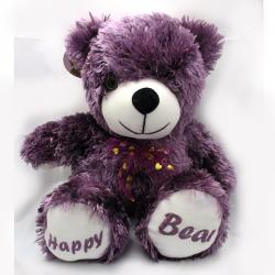 Archies Purple Happy Bear Fur Gifts Toys For Kids - (ARCH-264a)