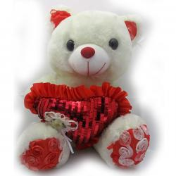 Archies White/Red Cloth Teddy Toy - (ARCH-251)