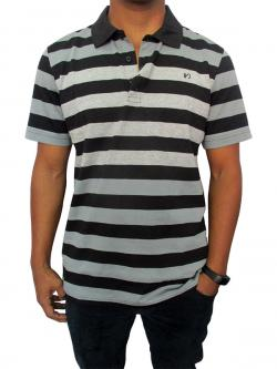 Black & Grey Polo Neck Casual T-shirt With Half Sleeve - (T1007)