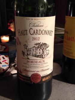 Chateau Haut Cardonnet Bordeaux 2012 - (GL-043)