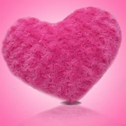 Cute Pink Fur Heart Soft Toy - (ARCH-255a)