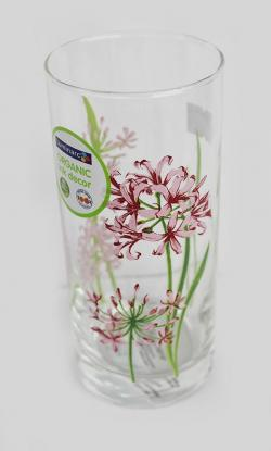 Flower Print Long Plain Juice Glass Set - 6 Pieces (GW-WG-008)