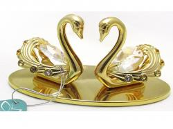 Golden Couple Swans Figurine - (ARCH-359)