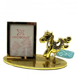 Golden Plated Table Photo Frame With Horse - (ARCH-356)