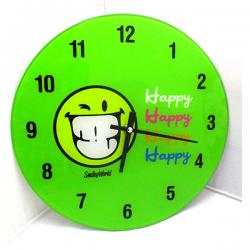 Green Happy Smiley Wall Clock - (ARCH-417)