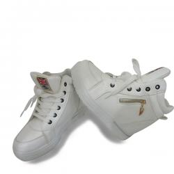 White Double Soul Converse With Zip