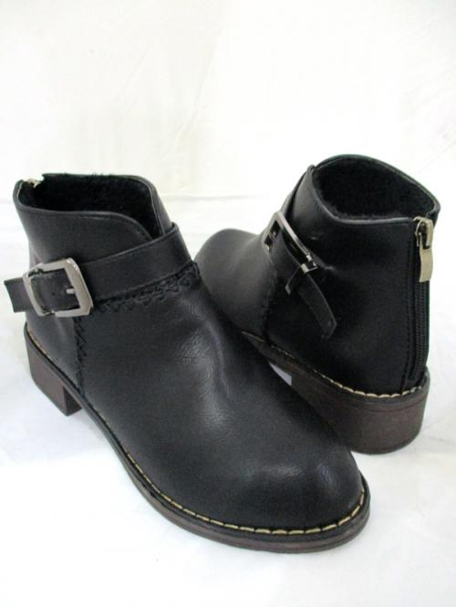 Women Leather Ankle Boots Classy Comfortable Shoes Side Buckle Back Zipper Boots