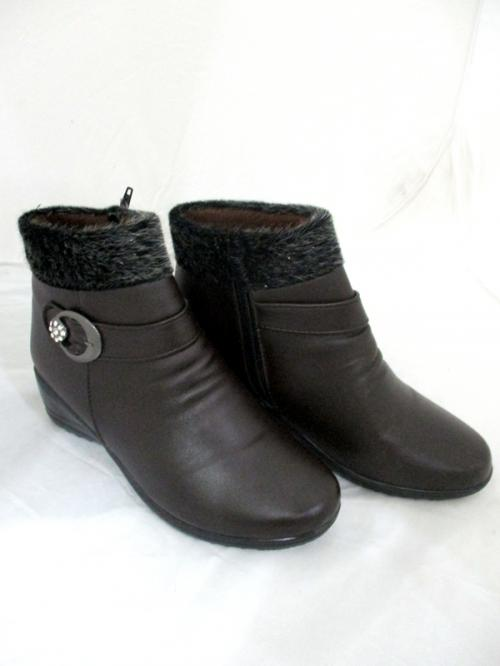 Leather Fur Winter Ankle Side Zip Ladies Boots/Shoes