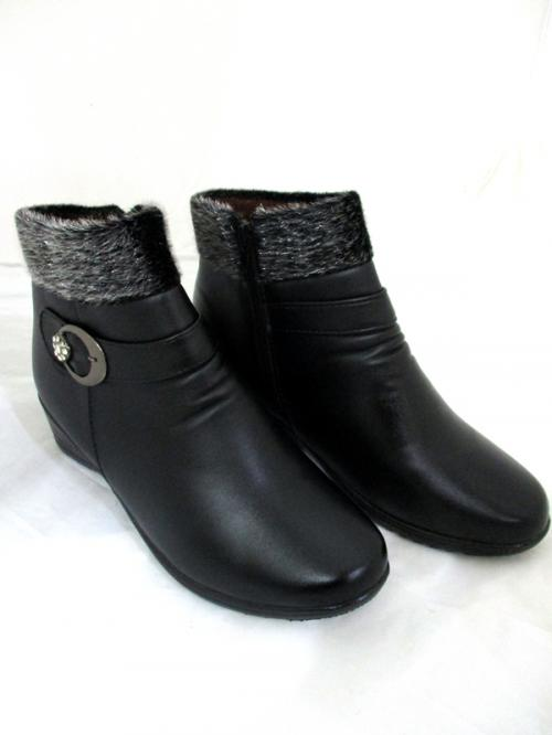 Black Leather Fur Winter Ankle Boots
