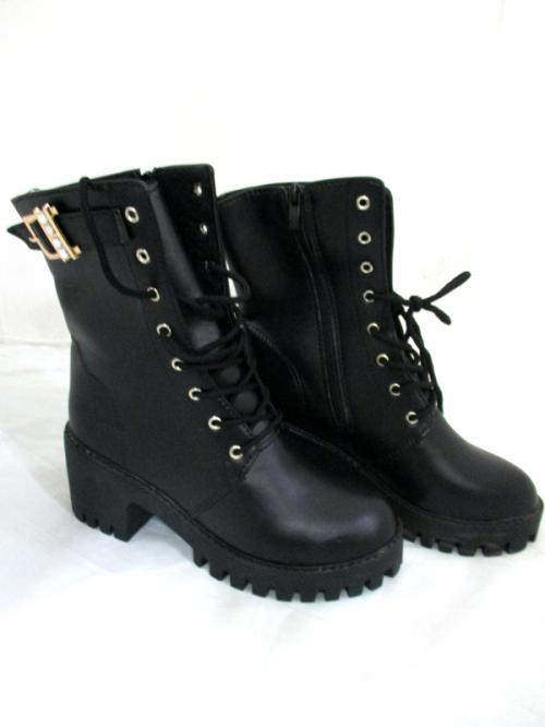 Ladies Black PU Leather High Ankle Boots