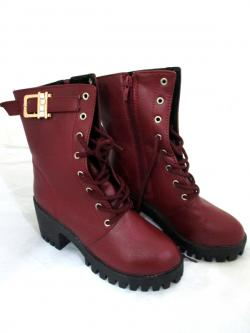 PU Leather Side Zip High Ankle Ladies Boots
