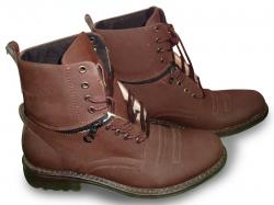 D.Brown Fold down Plaid Mid-Calf Lace-Up Boots (TK-857)