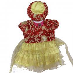Red Pashni Set For Baby Girl - (JU-024)