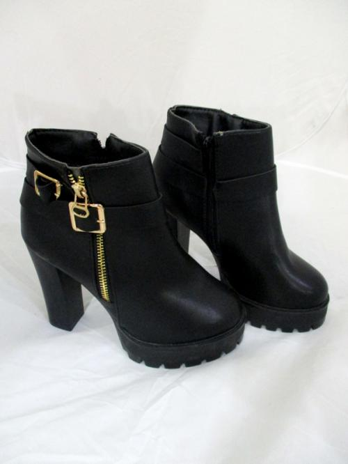 Ladies Fashion Winter Pu Leather Black Ankle Boots