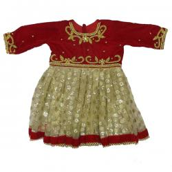 Velvet Red Pashni Set - (JU-023)