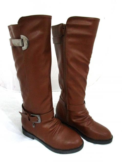 New Brand Brown Genuine Leather Winter Full Length Zipper Long Riding Boots