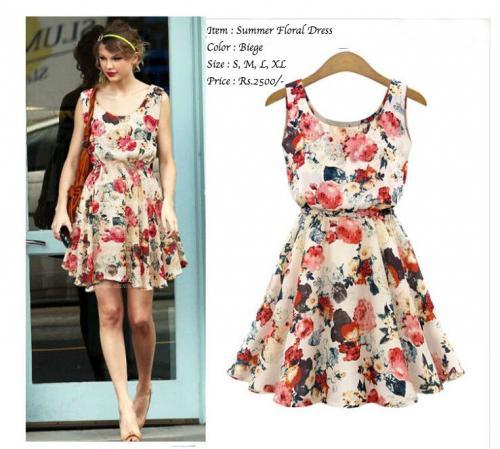 Biege Floral Dress