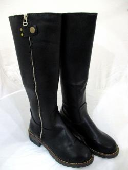 Ladies Fashionable Black Leather Long Riding Full Length Zipper Boots