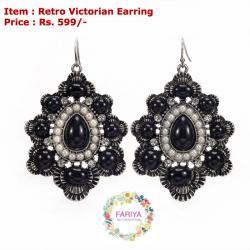 Retro Victorian Pearl & Noir Earring