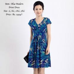 BLUE MODERN PRINT DRESS