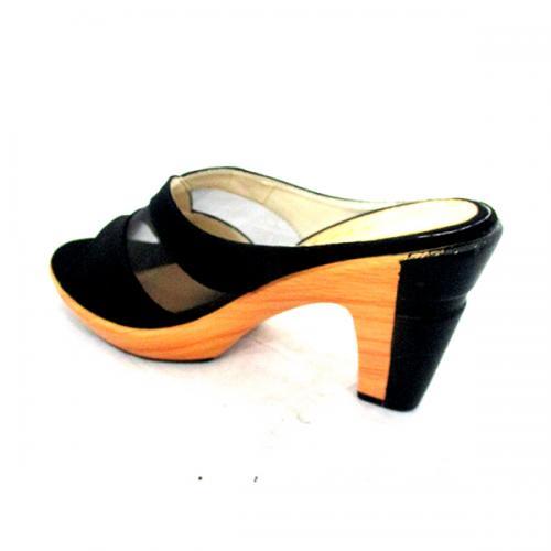 Dark Black Velvet High Heels