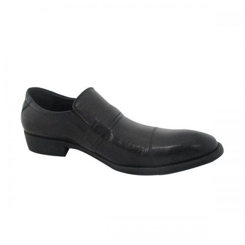 Men's Dark Black Shiny Party Shoes - (ST-049)