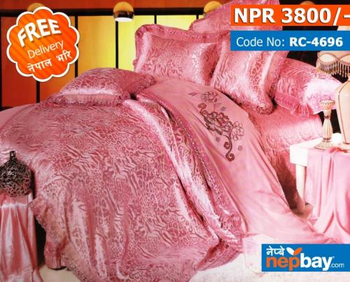 Pink Patterns Royal Collection - Super King Size - 100% Pure Cotton + Silk - 4 Pcs Bedding Set