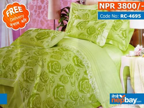 Green Roses Royal Collection - Super King Size - 100% Pure Cotton + Silk - 4 Pcs Bedding Set