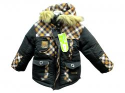 Black Check Kids Down Jacket