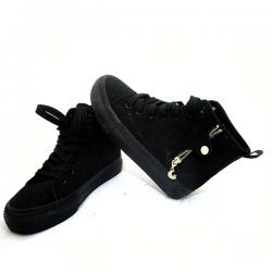 Dark Black Converse With Zip