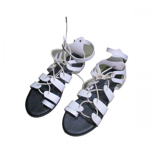 Ladies' White Tie Up Slippers