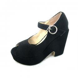 Cotton Dark Black High Heel Shoes