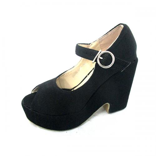 Cotton Dark Black High Heel Shoes