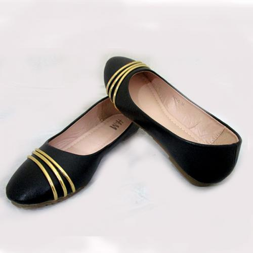 Black Belly Shoes With Golden Linings
