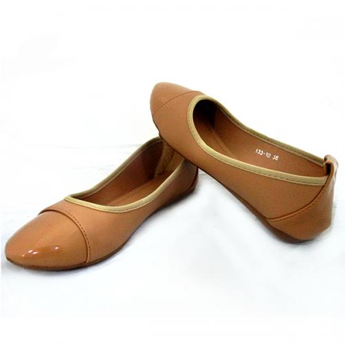 Ladies Cream shiny Belly Shoes